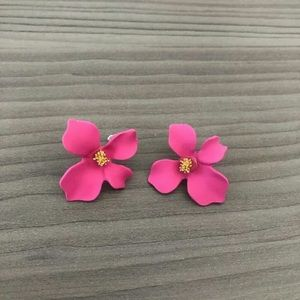 Jewelry - Flower Petal Studs in Bright Pink